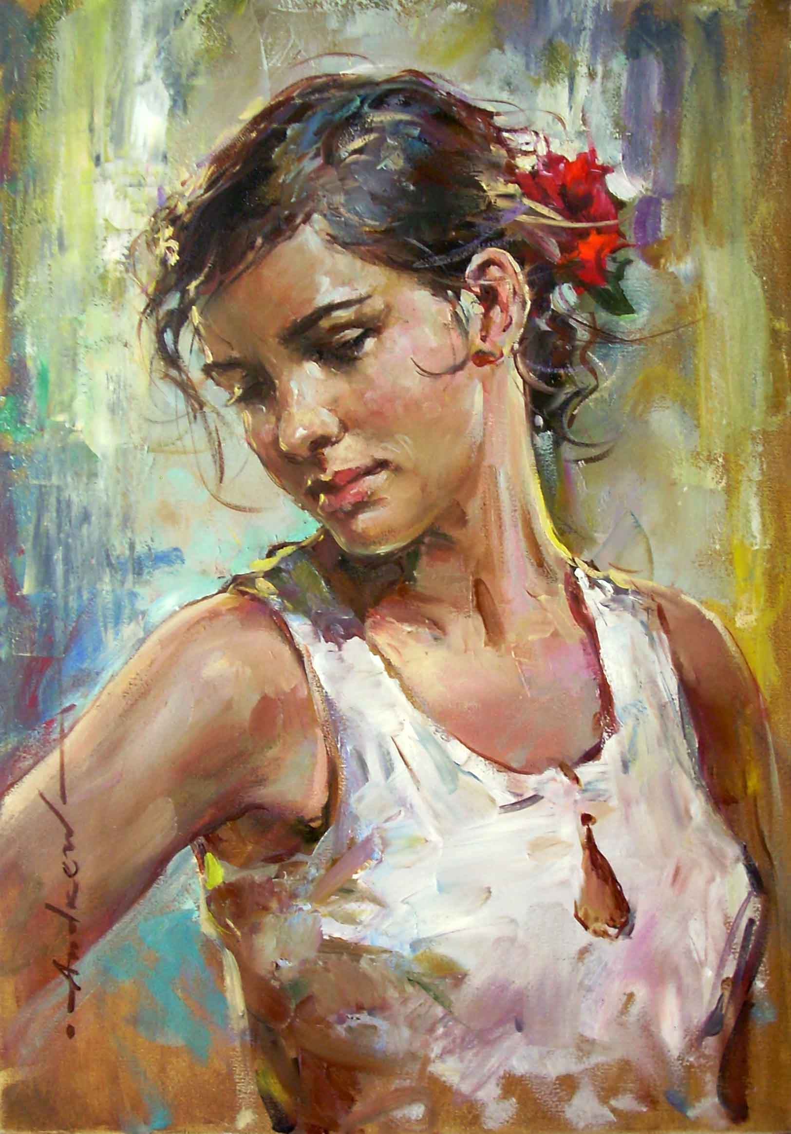 Alessandra by Andrew Atroshenko, Original, Oil on Canvas ...